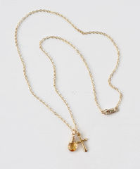 Small Gold Filled Cross Necklace with Birthstone for November - product images 6 of 10