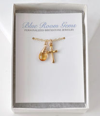 Small Gold Filled Cross Necklace with Birthstone for November - product images 8 of 10