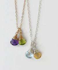 Two Birthstone Mothers Necklace in Gold Fill - product images 1 of 6