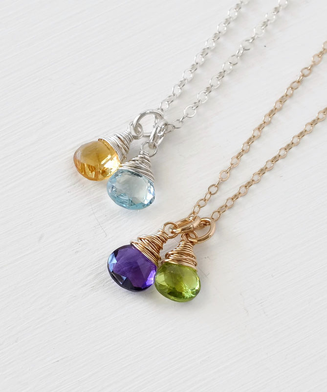 Two Birthstone Mothers Necklace in Gold Fill - product image