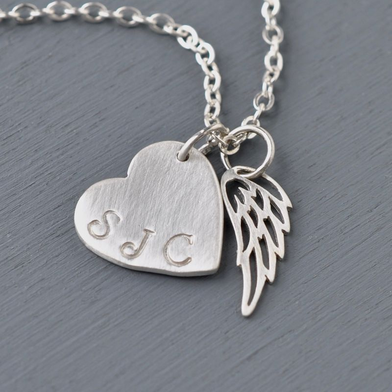 Personalized Sterling Silver Heart with Angel Wing Necklace - product image