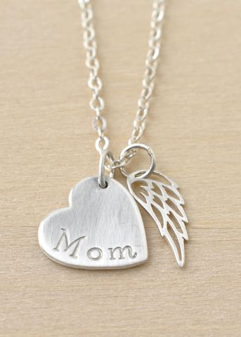 Loss,of,Mom,Necklace,with,Heart,and,Angel,Wing,in,Sterling,Silver,loss of mom necklace, loss of mother necklace
