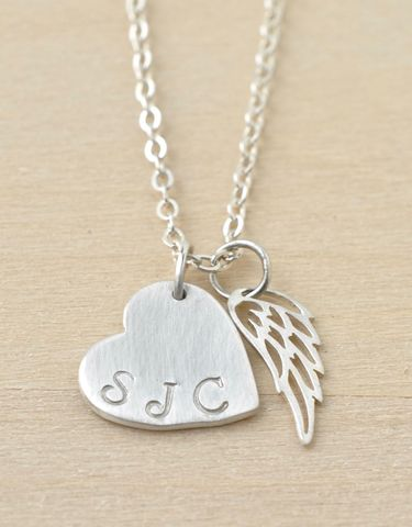 Personalized,Sterling,Silver,Heart,with,Angel,Wing,Necklace,personalized memorial necklace, sterling silver heart with wing necklace