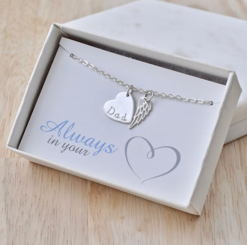 Loss of Dad Necklace with Heart and Angel Wing in Sterling Silver - product image