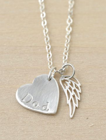 Loss,of,Dad,Necklace,with,Heart,and,Angel,Wing,in,Sterling,Silver,loss of dad necklace, loss of father necklace