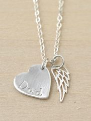 Loss of Dad Necklace with Heart and Angel Wing in Sterling Silver - product images 1 of 9