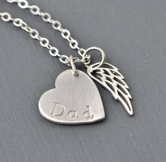 Loss of Dad Necklace with Heart and Angel Wing in Sterling Silver - product images 4 of 9