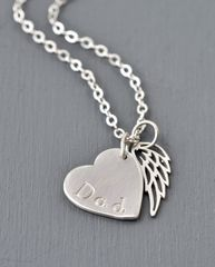 Loss of Dad Necklace with Heart and Angel Wing in Sterling Silver - product images 5 of 9