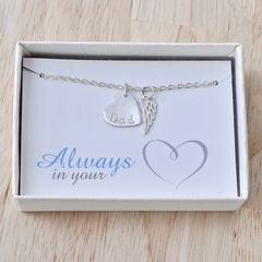 Loss of Dad Necklace with Heart and Angel Wing in Sterling Silver - product images 7 of 9