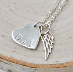 Loss of Dad Necklace with Heart and Angel Wing in Sterling Silver - product images 8 of 9