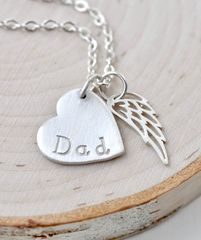 Loss of Dad Necklace with Heart and Angel Wing in Sterling Silver - product images 9 of 9