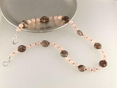 SOLD,-,Necklace,made,of,Rose,Quartz,and,Brown,Zebra,Jasper,with,Sterling,Silver,Clasp,Graceful Encounter, brown, pink, Crystal Healing, Healing Jewellery, Jewellery for Healing, Rose Quartz,  Brown Zebra Jasper, Sterling Silver,  Necklace