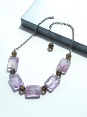 SOLD,-,Necklace,made,of,Ametrine,and,Smoky,Quartz,with,Sterling,Silver,Chain,Graceful Encounter, Healing Jewellery, Crystal Healing, Gemstone Jewellery, Ametrine, Smoky Quartz, purple, brown, Necklace, Sterling Silver, Chain,