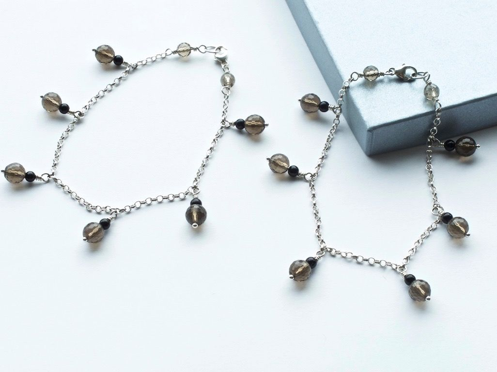 SOLD - Grounding Anklets made of faceted Smoky Quartz and Black Onyx with a Sterling Silver chain - product image