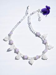 SOLD,-,Necklace,made,of,Frosted,Quartz,and,Lavender,Amethyst,with,Sterling,Silver,18K,Gold,Vermeil,(sterling,silver,plated,gold),spacers,beads,necklace, gemstone, power stone, clear quartz, frosted quartz, amethyst, lavender amethyst, sterling silver, 18K Gold, Vermeil, jewellery, healing jewellery, white, purple