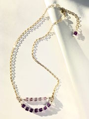 Necklace,made,of,lavender,and,dark,coloured,amethyst,,clear,quartz,with,a,14K,Gold,Filled,chain
