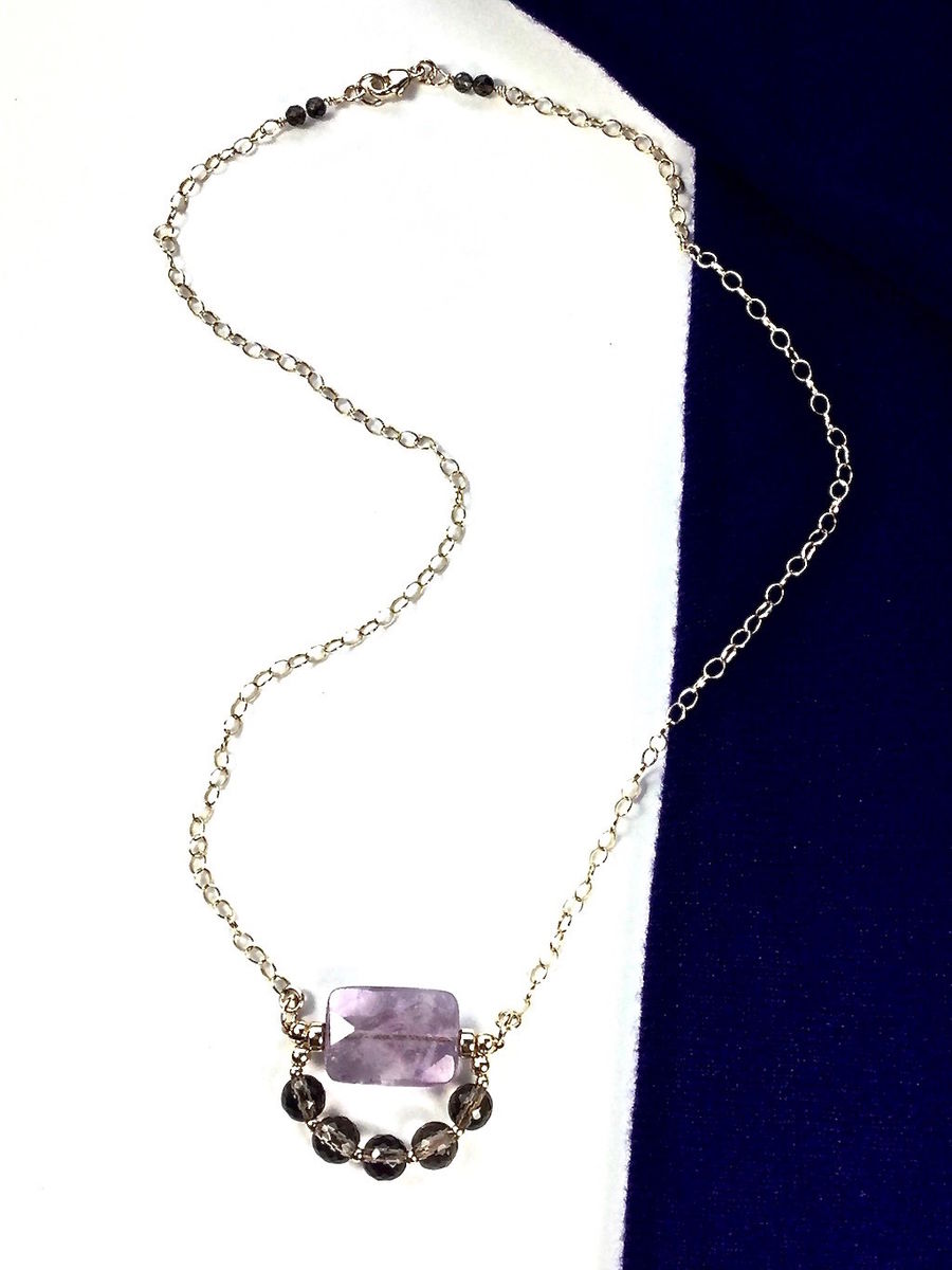 Necklace made of Faceted Ametrine and Smoky Quartz with a 14K Gold-filled chain - product image