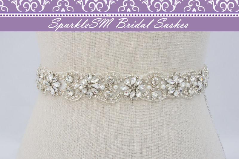 Crystal Bridal Sash Rhinestone Bridal Beaded Crystal Rhinestone Sash Wedding Sash 18