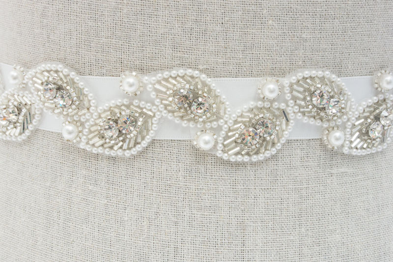 Bridal Sash, Bridal Belt, Rhinestone Bridal Sash, Bridal Dress Sash, Wedding Dress Sashes, Rhinestone Bridal Belt, SparkleSM Bridal, Halle - product image