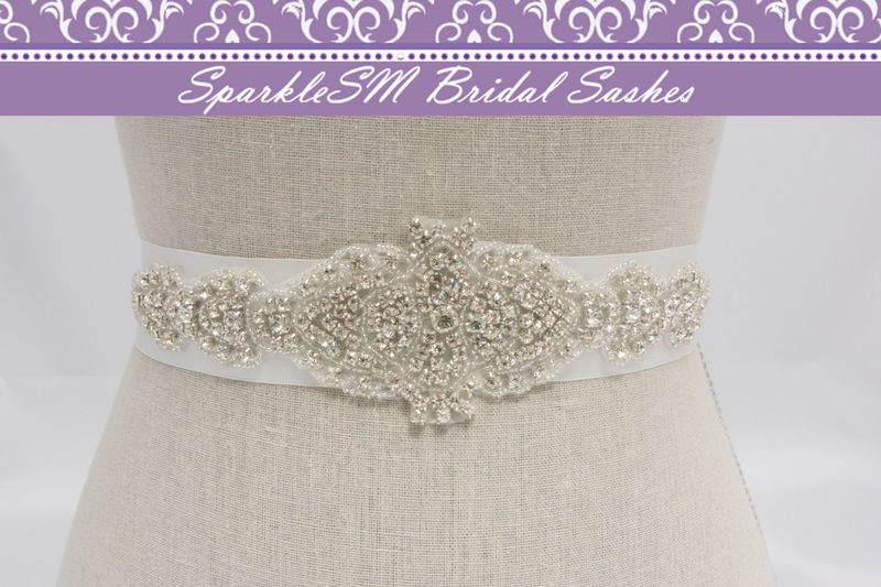 Rhinestone Applique, Bridal Applique, Bridal Sash, Bridal Belt, Wedding Bridal Sash, Bridal Dress Sash, Beaded Sash, SparkleSM Bridal, Sadie - product image