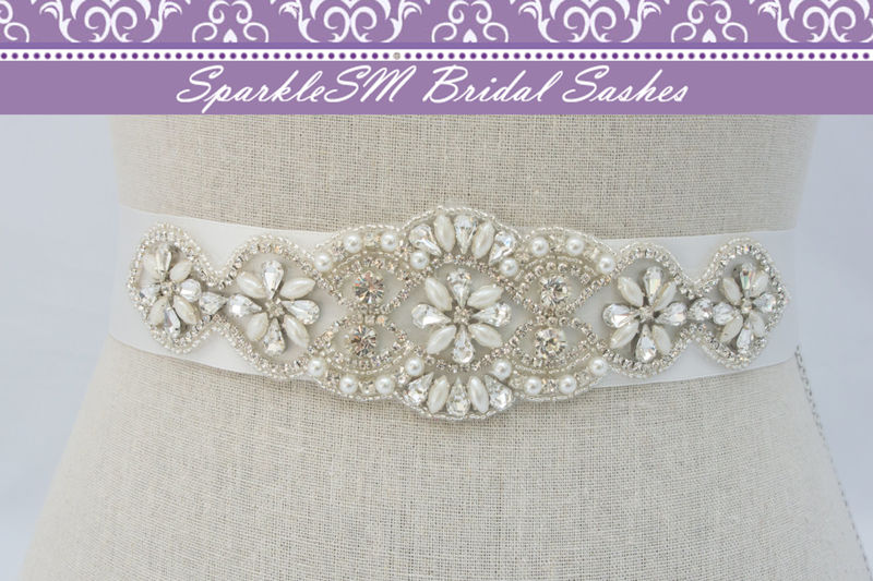 Crystal Bridal Dress Sash, Bridal Sash, Bridal Belt, Rhinestone Bridal Sash, Rhinestone Applique, Bridal Applique, SparkleSM Bridal, Pia - product images