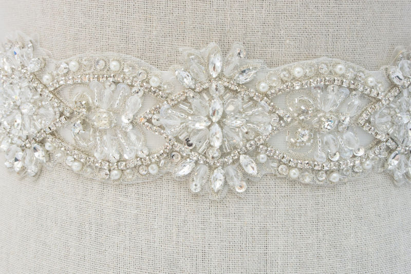 Crystal Bridal Sash, Beaded Bridal Dress Sash, Rhinestone Sash, Bridal Belt, Bridal Sash, Crystal Bridal Sash, SparkleSM Bridal Sash, Maisie - product image