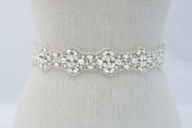 Bridal Sash, Bridal Belt, Wedding Dress Sash, Wedding Dress Belt, Bridal Sash Belt, Pearl Bridal Dress Sash, SparkleSM Bridal Sashes, Hannah - product image