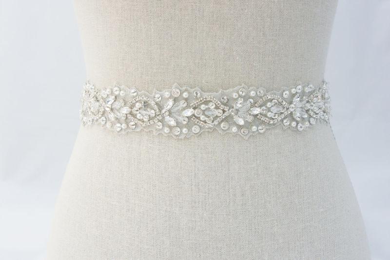 Rhinestone bridal sash ivory bridal sash bridal belt for How to ship a wedding dress usps