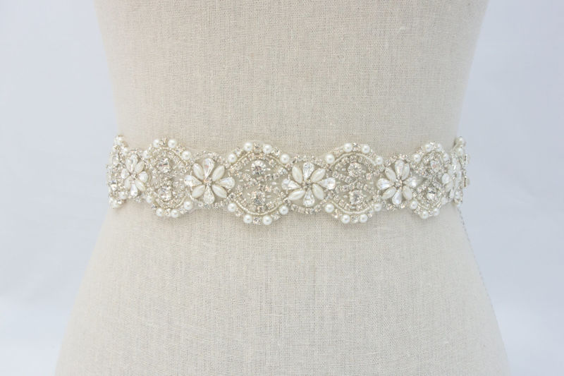 Crystal Bridal Belt Rhinestone Sash Beaded Dress
