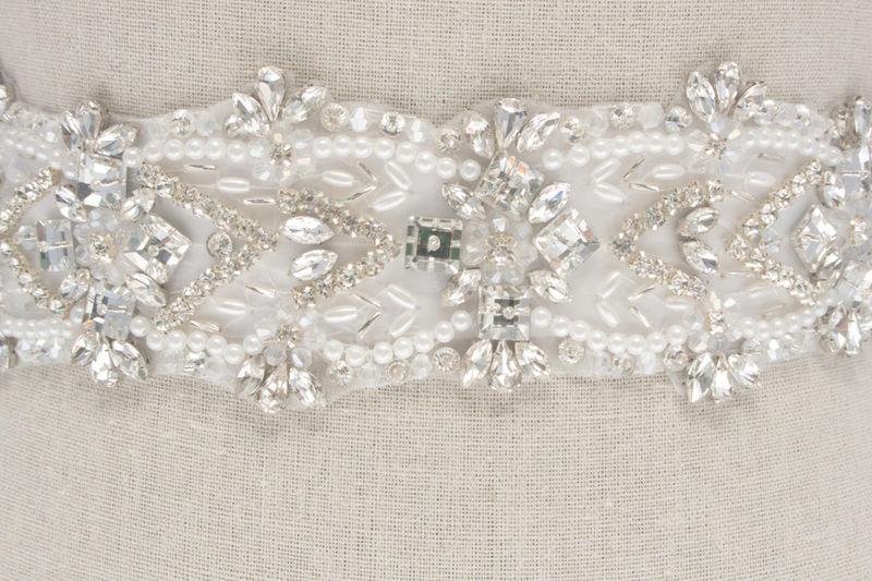 Crystal Bridal Sash, Beaded Bridal Belt, Rhinestone Sash, Rhinestone Belt, Bridal Dress Sash, White Bridal Sash, SparkleSM Bridal, Eloise - product image