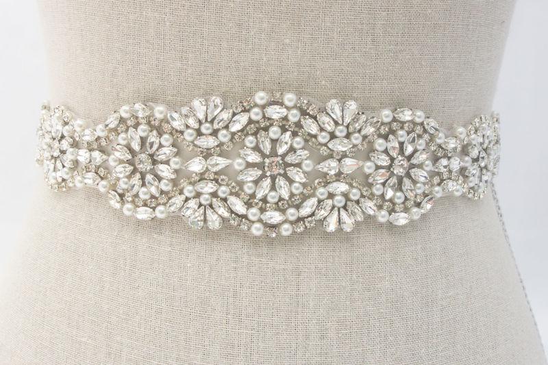 Rhinestone Pearl Sash Bridal Belt Swarovski Crystal