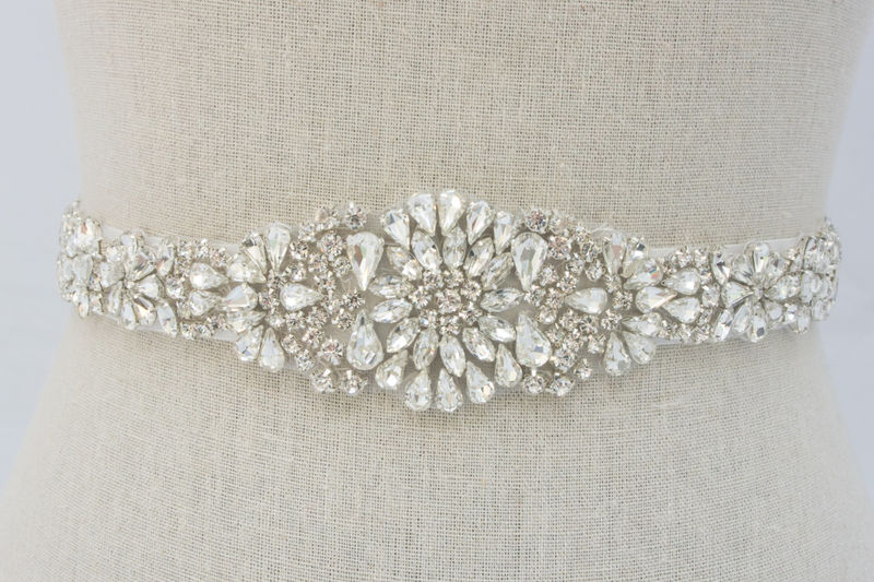 Rhinestone Bridal Sash, Beaded Bridal Belt, Rhinestone Applique, Bridal Applique, Beaded Bridal Belt, Wedding Dress Sash, SparkleSM, Lydia - product image