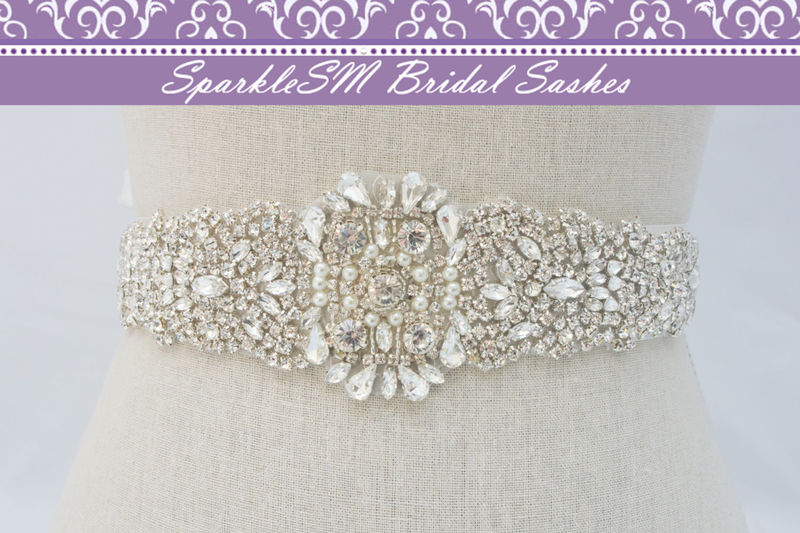 Rhinestone Applique, Crystal Bridal Sash, Beaded Bridal Belt, Bridal Sash, Bridal Dress Sash, Wedding Dress Sash, SparkleSM Bridal, Libby - product image