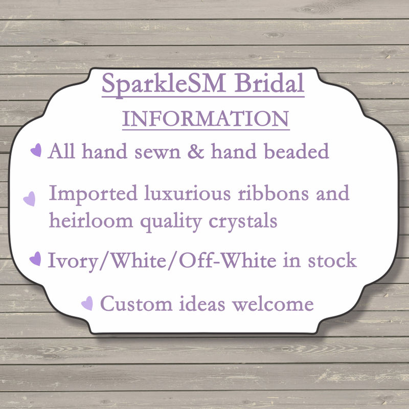 Rhinestone Applique, Crystal Wedding Applique, Bridal Sash, Bridal Belt, Wedding Dress Sash, Bridal Dress Sash, SparkleSM Bridal, Calista - product image