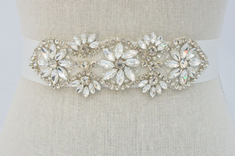 Rhinestone Bridal Sash, Beaded Bridal Belt, Crystal Wedding Dress Sash, Rhinestone Applique, Bridal Applique, SparkleSM Bridal, Delaney - product image