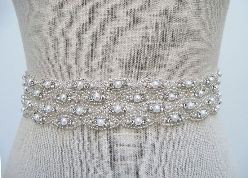 Rhinestone Bridal Sash, Rhinestone and Crystal Wedding Belt, Rhinestone Pearls Satin Sash, Jeweled Beaded Sash, Bridal Accessories, Hayden - product image