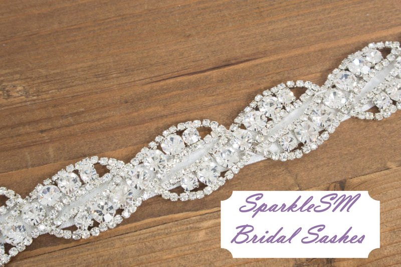 Bridal sash, Wedding sash, Bridal belt, Crystal Bridal Sash, Rhinestone Sash, Jeweled Belt, Bridal Belt, Wedding Gown Belt, Sash - Paige - product image