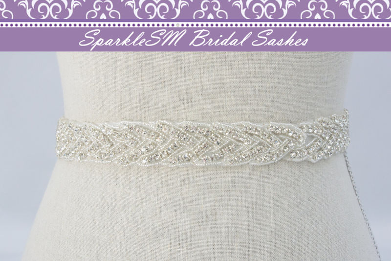 Bridal sash, Wedding sash, Bridal belt, Crystal Bridal Sash, Rhinestone Sash, Jeweled Belt, Bridal Belt, Wedding Gown Belt, Sash, Carina - product image