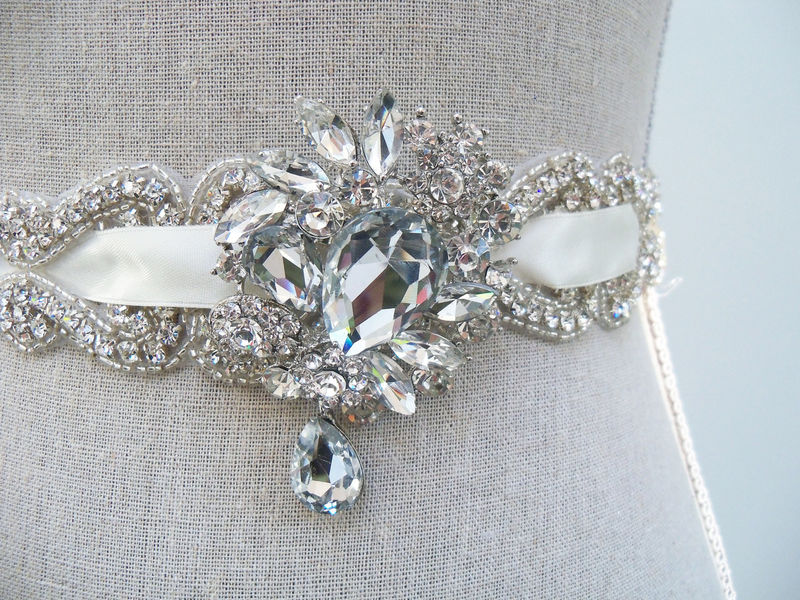 Crystal Bridal Sash, Rhinestone Bridal Sash, Wedding Sash, Couture Bridal Sash, Jeweled Sash, Bridal Belt, SparkleSM Bridal Sashes, Emilie - product image