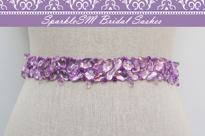 Rhinestone Bridal Sash, Rhinestone and Crystal Wedding Belt, Rhinestone Pearls Satin Sash, Jeweled Beaded Sash, Jeweled Bridal Sash - Violet - product image
