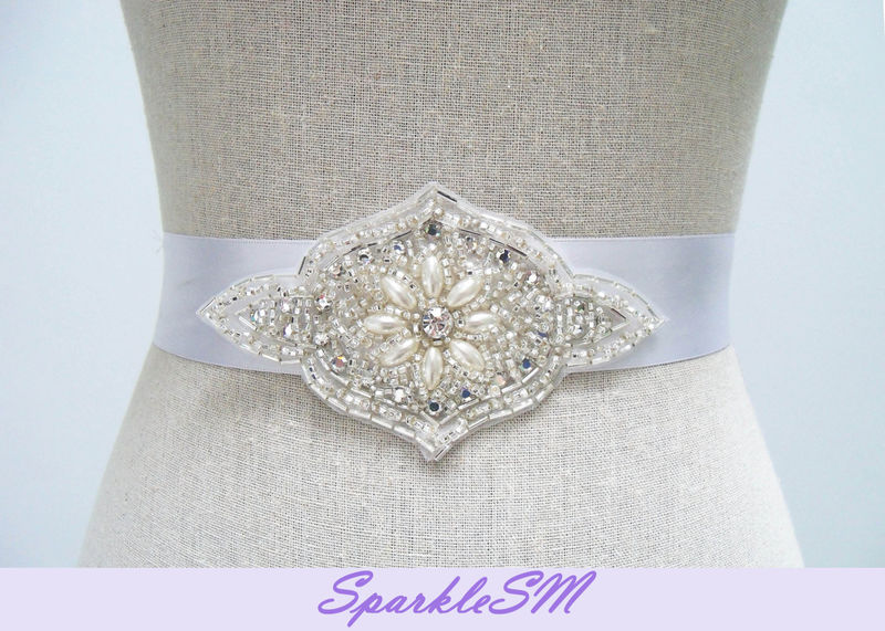 Rhinestone Applique, Pearl Bridal Sash, Beaded Bridal Dress Sash, Wedding Dress Belt Sashes, SparkleSM Bridal Sash, Bridal Sash, Maggie - product image