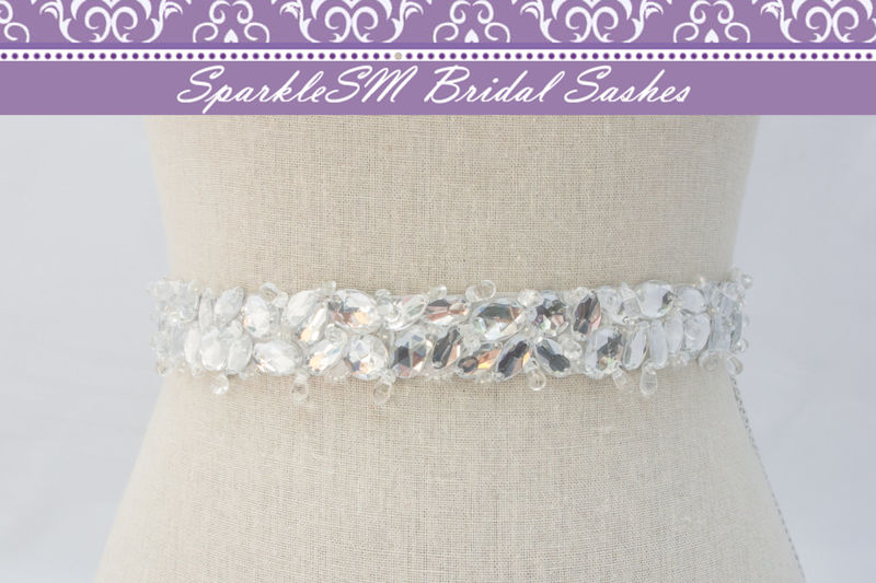 Rhinestone Crystal Bridal Belt Sash, Wedding Sash Belt, Bridal Accessories, Crystal Belt Sash Jeweled Bridal Belt, SparkleSM Bridal, Emma - product image