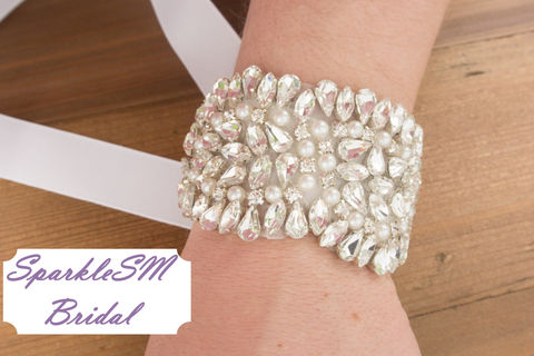 Rhinestone,Bridal,Bracelet,,Bridesmaid,Beaded,Crystal,Cuff,,Wedding,cuff,,Bracelet,-,Lillian,Jewelry,bridal_sash,bridal_bracelet,wedding_bracelet,bridal_jewlery,ribbon_bracelet,crystal_bouquet_wrap,wedding_bouquet_wrap,flower_bouquet_wrap,beaded_bracelet,rhinestone_bracelet,swarovski_bracelet,sparklesm,sparklesm_bridal