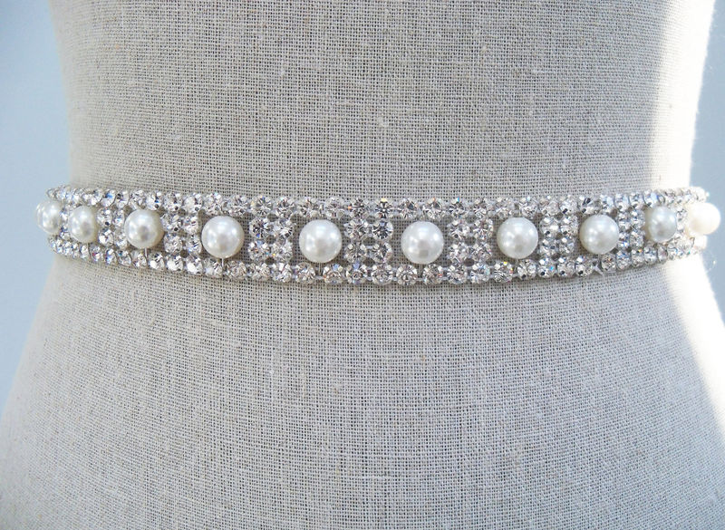 Crystal Bridal Belt, Wedding Dress Sash, Bridal Dress Sash, Bridal Belt, Rhinestone Sash, Pearl Sash, SparkleSM Bridal Sashes, Evangeline - product image
