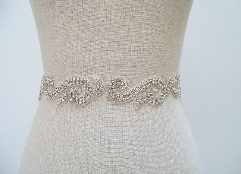 Bridal Sash, Bridal Belt, Rhinestone Sash, Crystal Beaded Wedding Dress Sash, Bridal Dress Sash, SparkleSM Bridal Sashes, Bridal Belt, Sasha - product image