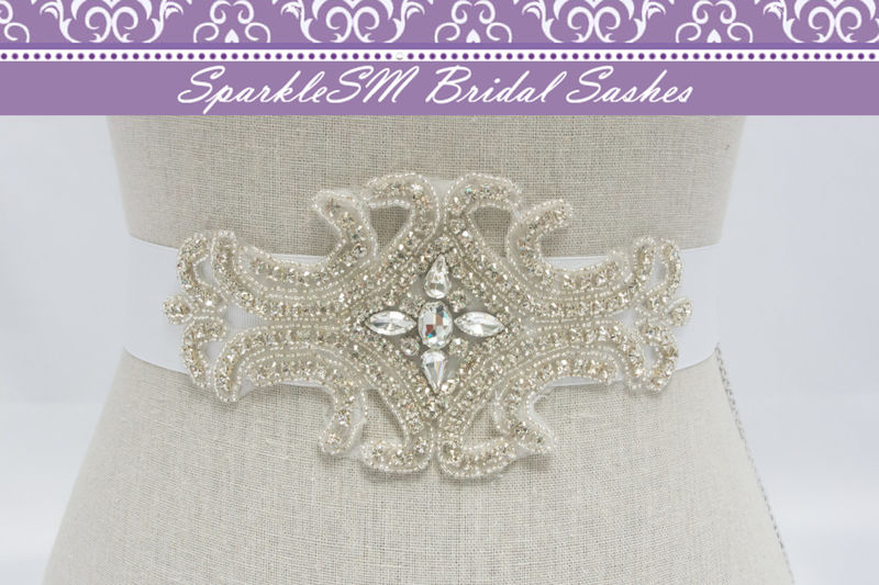 Rhinestone Bridal Sash, Crystal Beaded Bridal Sash, Wedding Dress Sashes, Beaded Bridal Belt Sash, SparkleSM Bridal Sashes, Brooke - product image