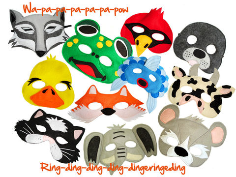 What,Does,The,Fox,Say,,Set,of,11,Children's,Animal,Felt,Masks,Combo,Children, Clothing, Costume, halloween costume, cat mask, wolf mask, frog mask, bird mask, mouse mask, elephant mask, fish mask, seal mask, fox mask, duck mask, cow mask, Ylvis', magicalattic