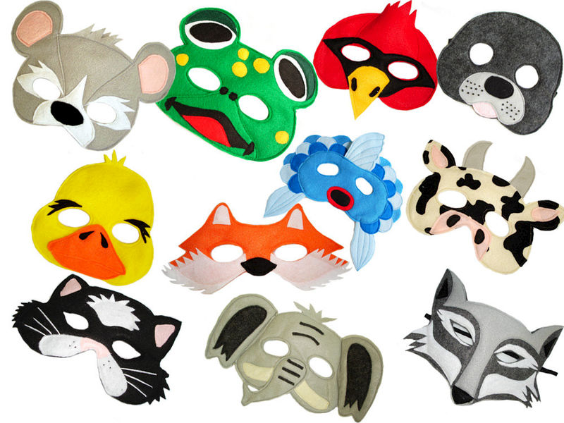 What Does The Fox Say, Set of 11 Children's Animal Felt  Masks Combo - product images  of