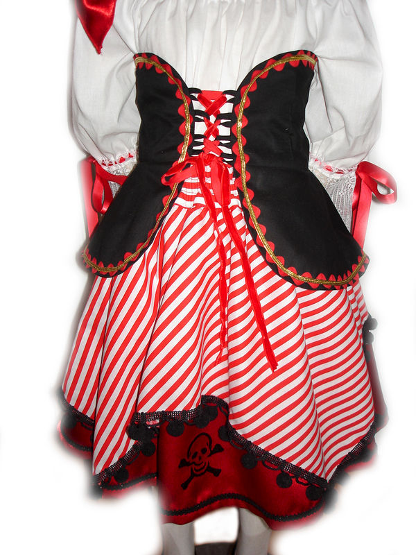 Custom Boutique Halloween PIRATE Girl's Size Costume Set - product images  of