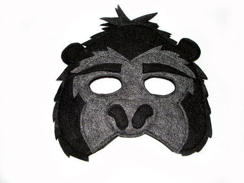Children's,Jungle,Animal,GORILLA,Felt,Mask,Children, Clothing, Costume, pretend play, halloween costume, christmas gift, felt mask, kids mask, magical attic, woodland animals, lion king, gorilla mask, tarzan, safari animal mask, magicalattic, zoo animal